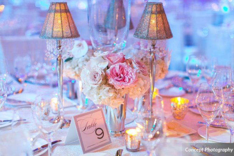 Pink and Silver Wedding, Candle Centerpiece