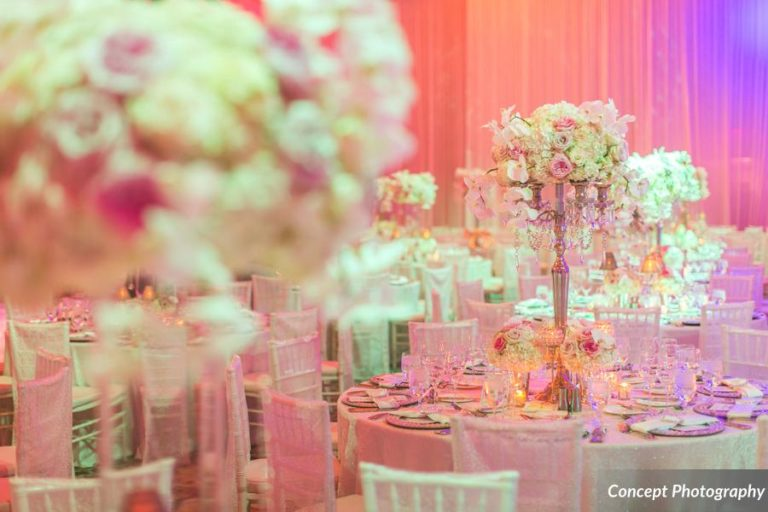 Pink and Silver Wedding, Floral Centerpieces