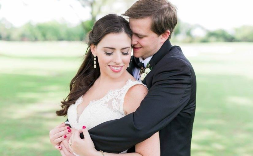 blush and gold wedding bride and groom