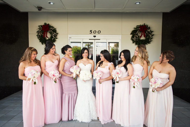 blush and gold wedding dr philips center bridesmaids
