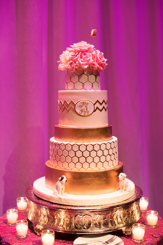 blush and gold wedding dr philips center cake