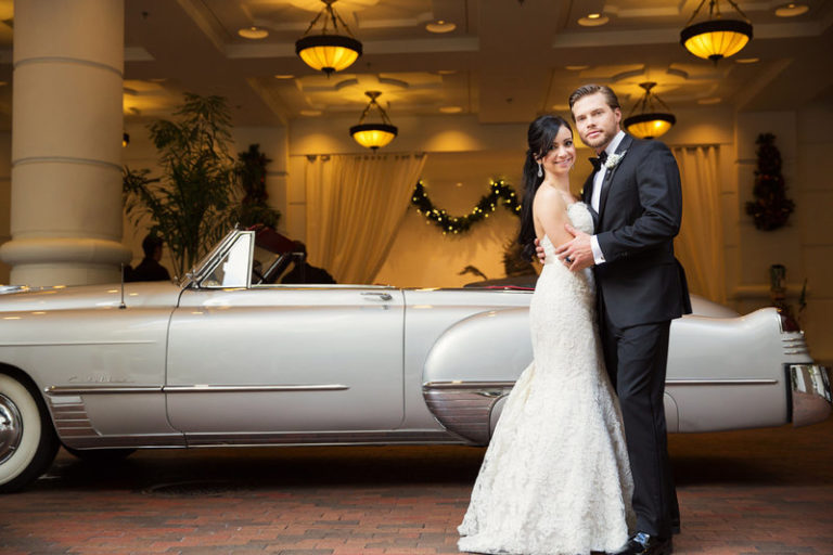 blush and gold wedding dr philips center classic car