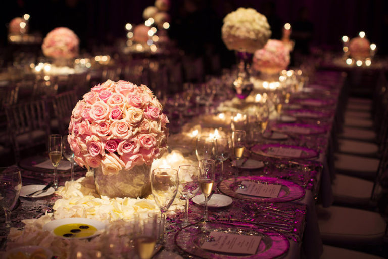 blush and gold wedding dr philips center floral centerpieces