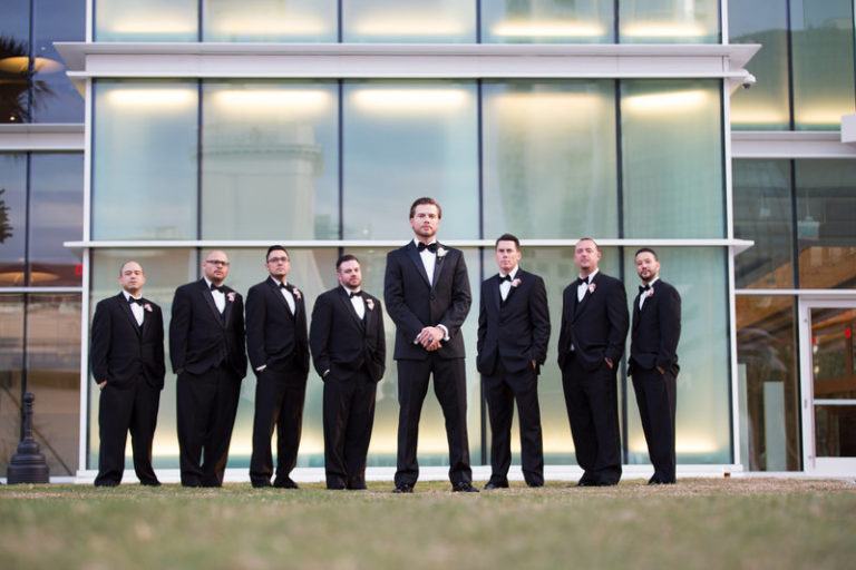 blush and gold wedding dr philips center groomsmen