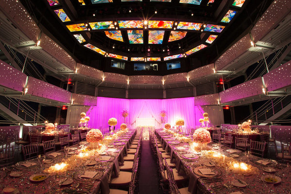 blush and gold wedding dr philips center pink lighting