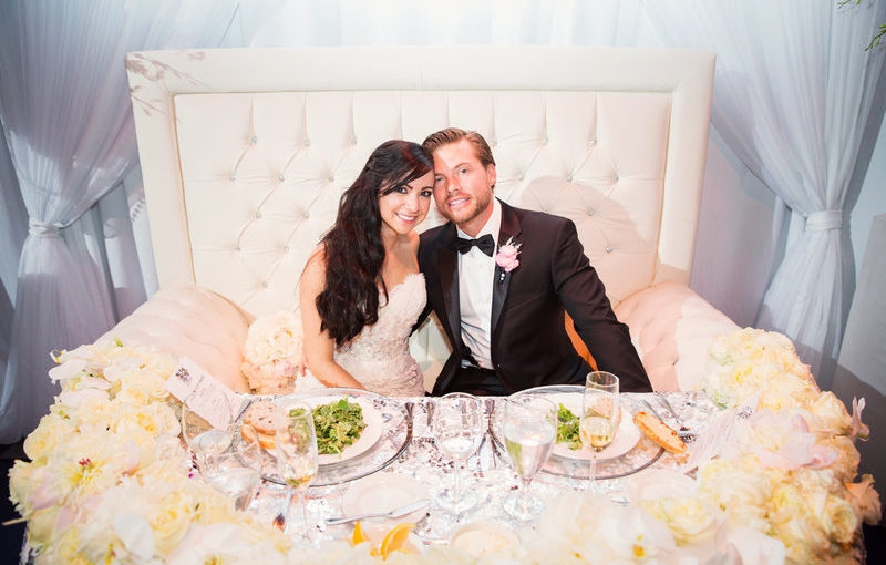 blush and gold wedding dr philips center sweetheart table