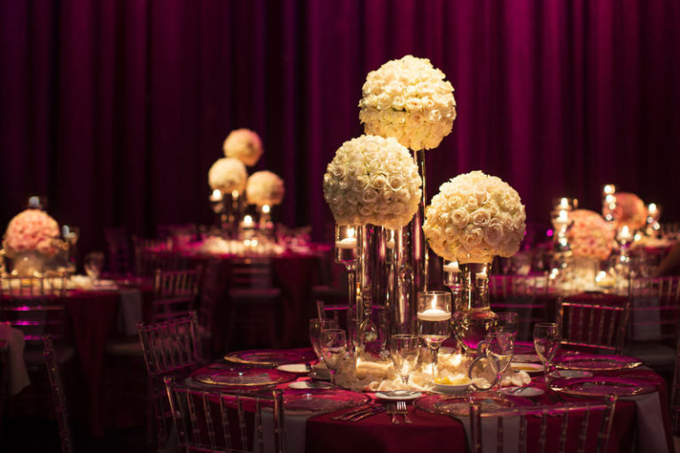 blush and gold wedding dr philips center tall floral centerpieces
