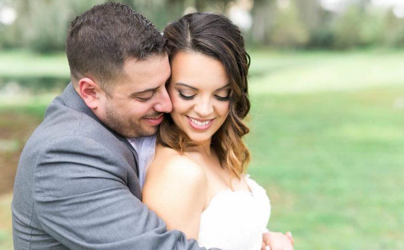 blush wedding bride and groom