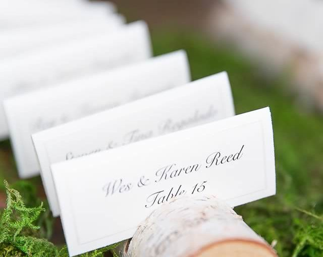 blush wedding, rustic escort card display