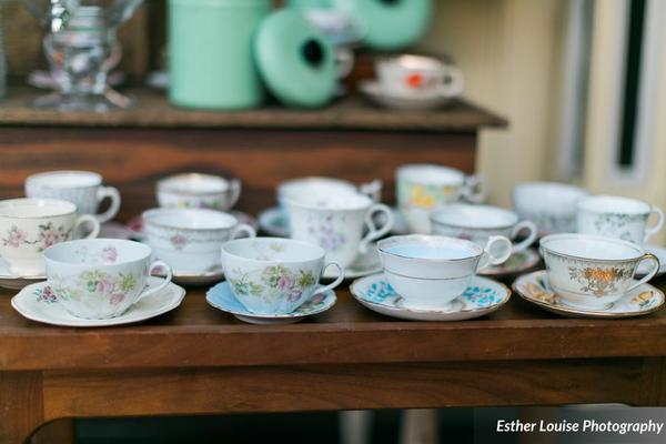 downtown lakeland wedding mixed matched tea cups