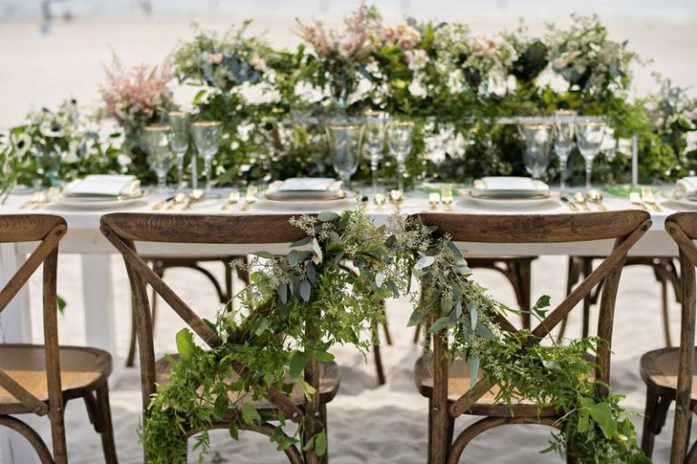 elegant seaside inspired shoot greenery dressed french country chairs