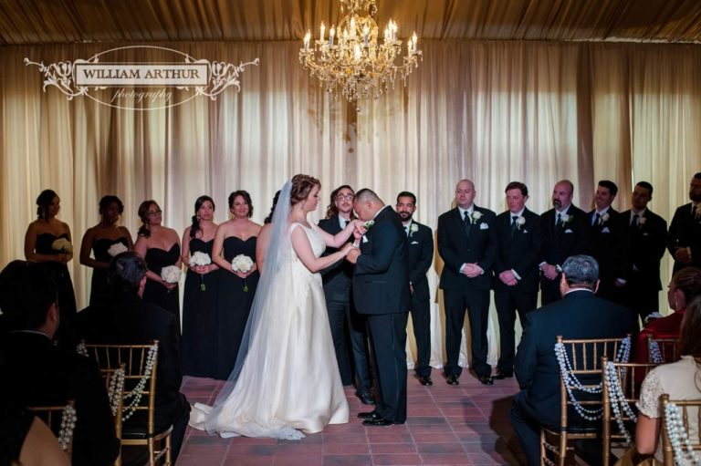 gatsby wedding bride and groom ceremony