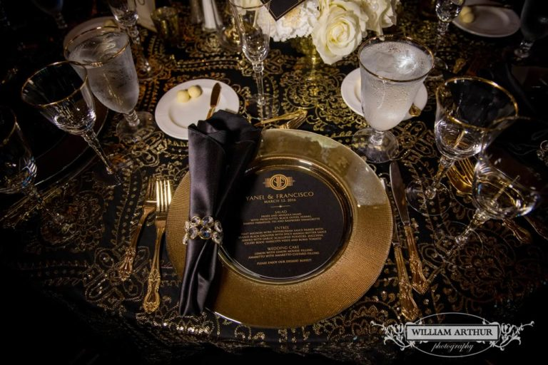 gatsby wedding gold charger gold rimmed steamware