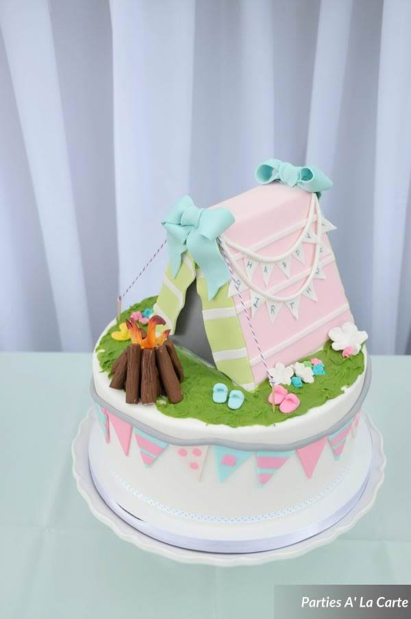 glamping soiree birthday cake