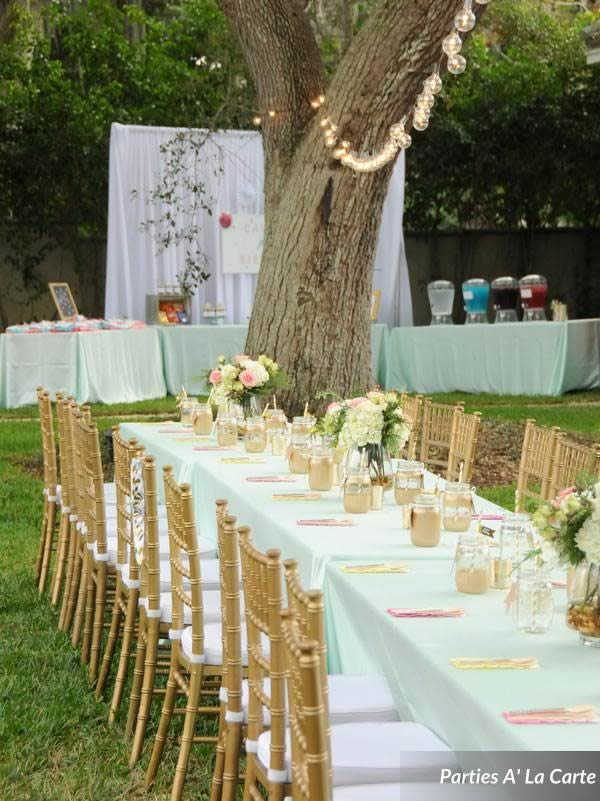 glamping soiree gold chiavari chairs table setting