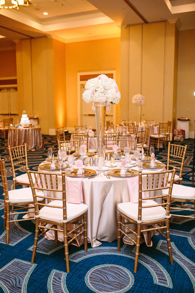 gold and blush wedding reception decor gold chiavari chairs