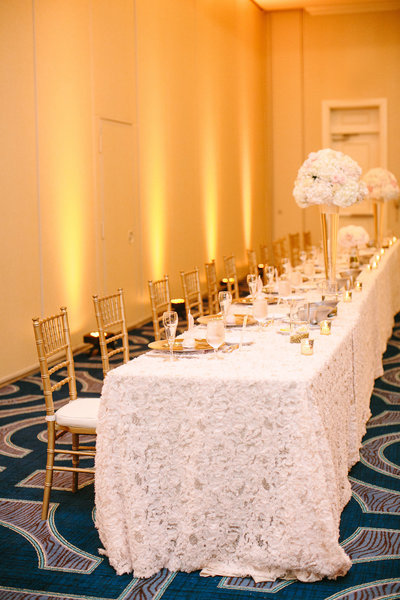 gold and blush wedding reception decor