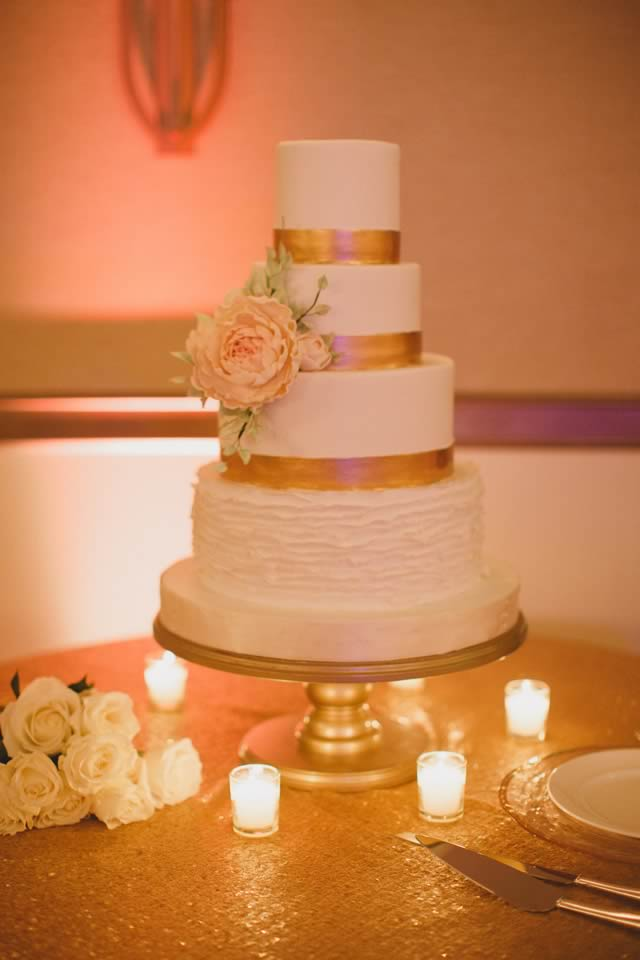 ivory, blush and gold wedding cake