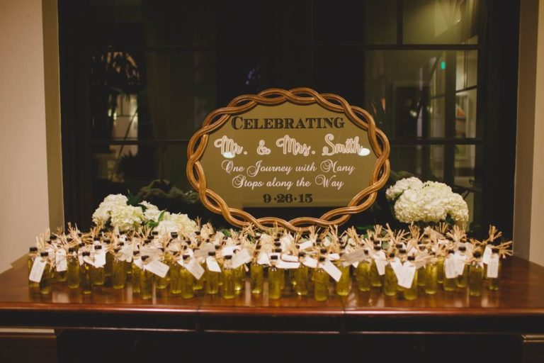ivory, blush and gold wedding favors