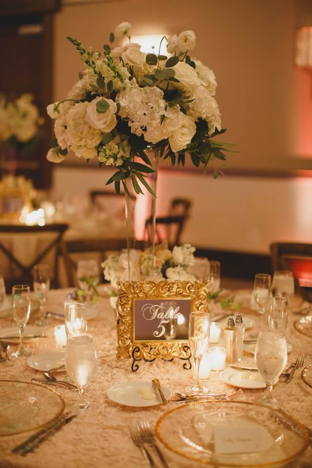 ivory, blush and gold wedding gold rimmed glass charger table decor