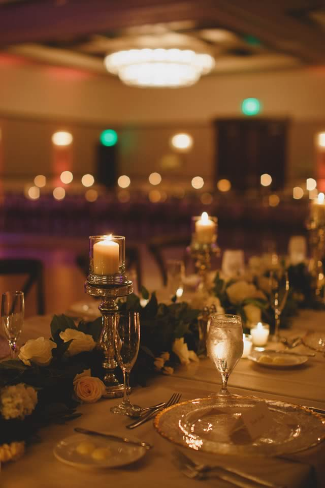 ivory, blush and gold wedding reception lighting