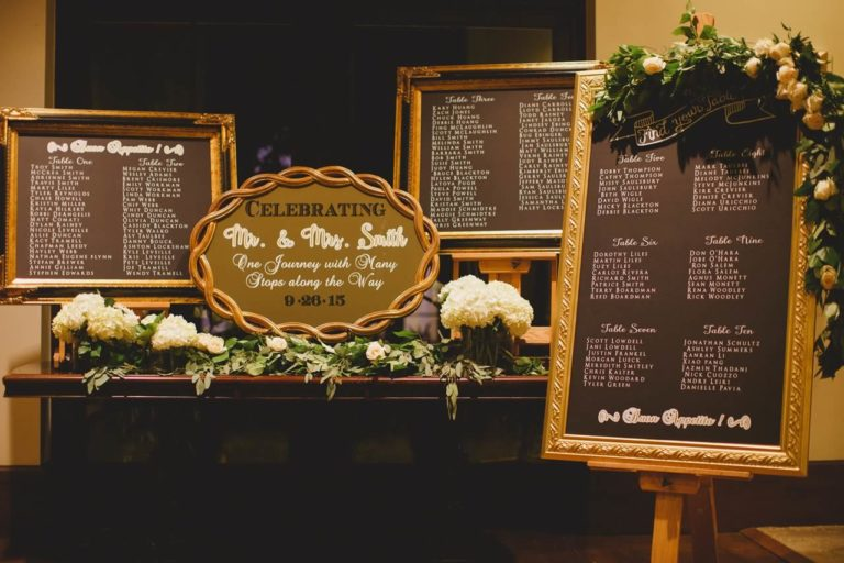 ivory, blush and gold wedding signage