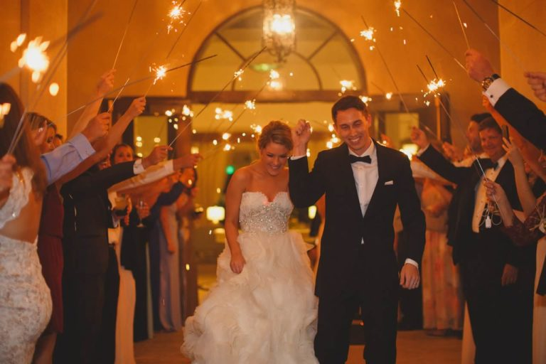 ivory, blush and gold wedding sparkler exit