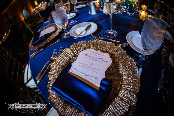 navy and gold at the omni orlando resort wedding table setting & Navy and Gold Wedding at Omni Orlando Resort - A Chair Affair Inc.
