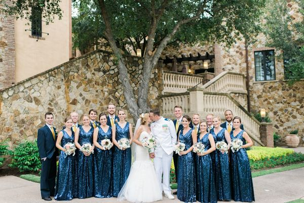 navy and gold wedding bridal party