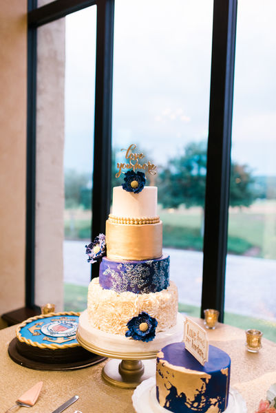 navy and gold wedding cake