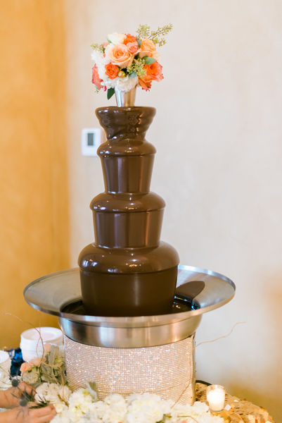 navy and gold wedding chocolate fountain