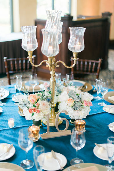 navy and gold wedding gold candelabra
