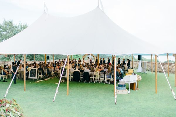 navy and gold wedding outdoor ceremony