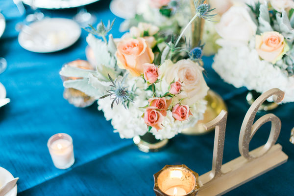 navy and gold wedding table number