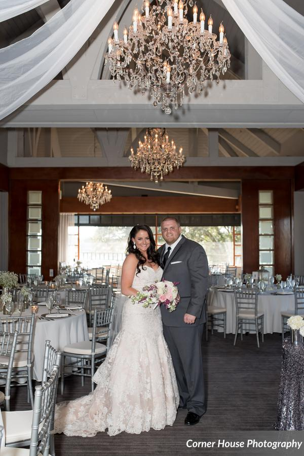 silver and purple wedding bride and groom reception