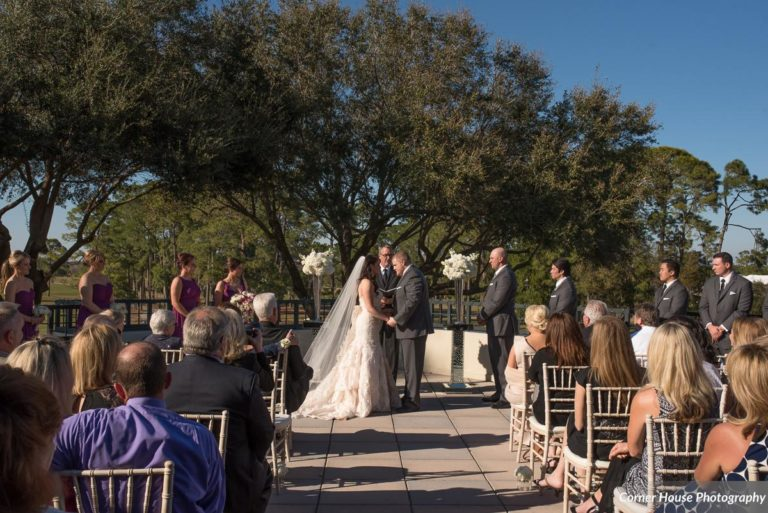 silver and purple wedding ceremony