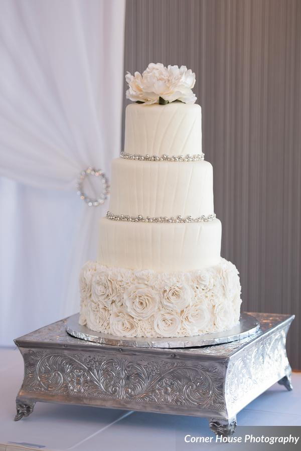 silver and purple wedding silver cake sand