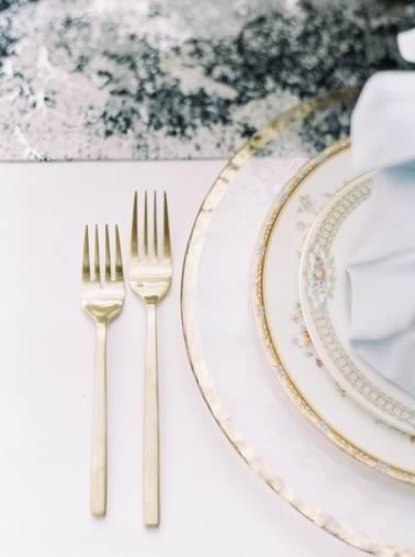 sophisticated yellow pale blue wedding inspiration gold flatware