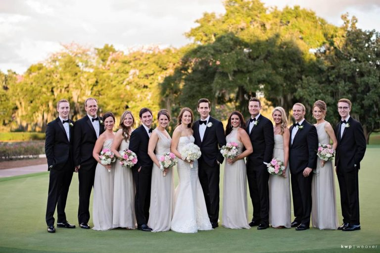 tented isleworth lakeside wedding bridal party