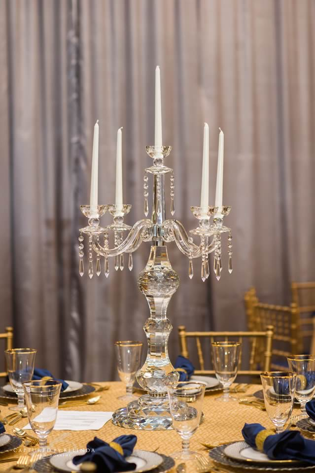 wedding reception design crystal candelabra