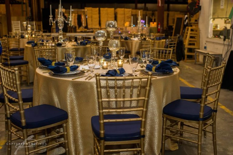 wedding reception design gold chiavari chairs