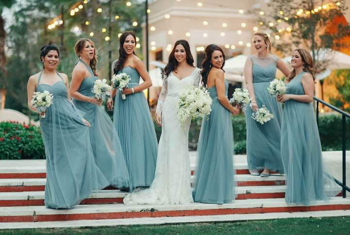 winter wedding bridesmaids