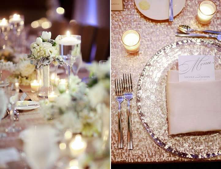 winter wedding silver rimmed glass charger