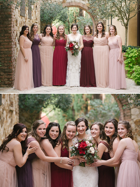 shades of red rustic wedding bridesmaids