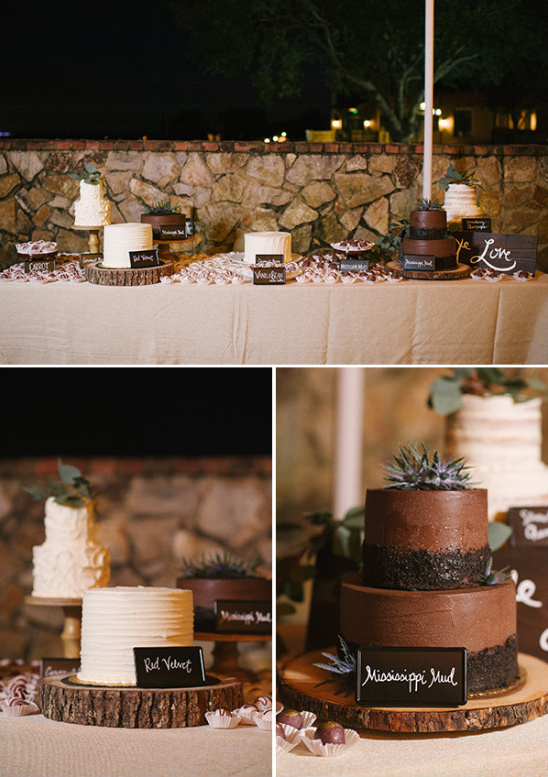 shades of red rustic wedding cakes