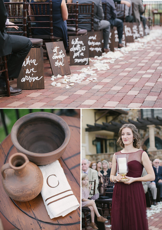 shades of red rustic wedding ceremony signage mahagony chiavari chairs
