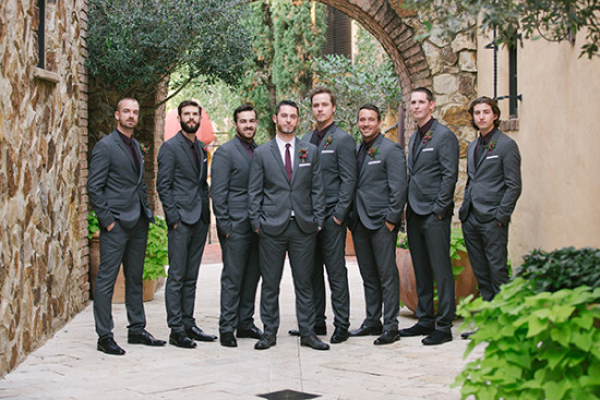 shades of red rustic wedding groomsmen