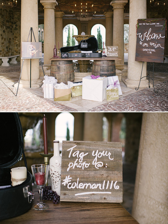 shades of red rustic wedding signage wine barrels