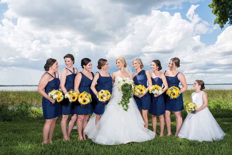 waterfront wedding bridesmaids