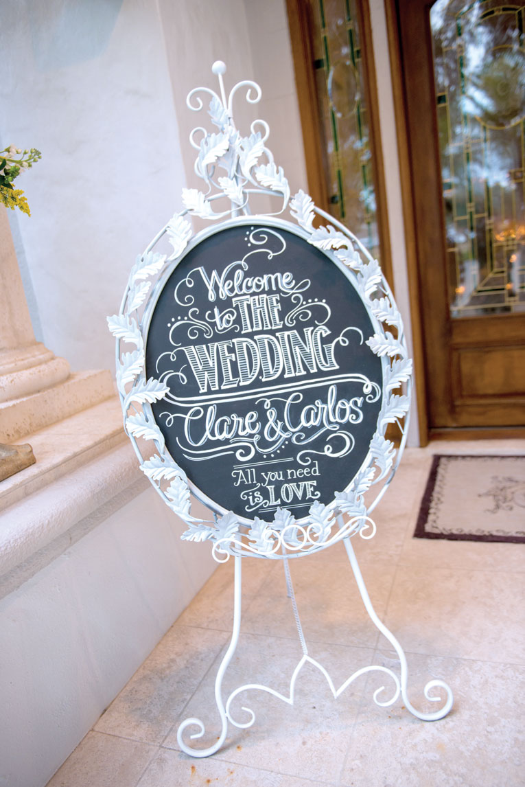 waterfront wedding signage